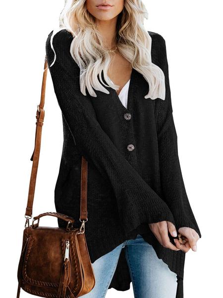 Yoins Black Button Design V-neck Long Sleeves Knit Top
