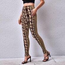 Contrast Snakeskin Print Leggings