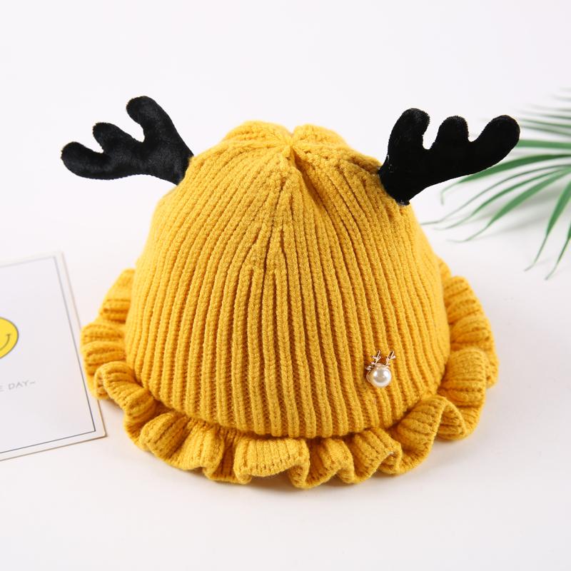 Falbala Cute Domed Knitted Brimless Deer-ear Winter Baby Hat
