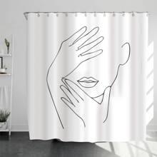 1 pieza cortina de ducha con estampado de figura con 12 ganchos