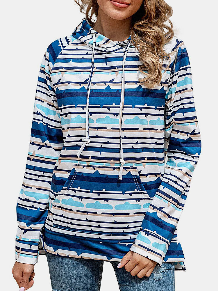 Colorful Striepd Print Long Sleeves Casual Hoodies For Women