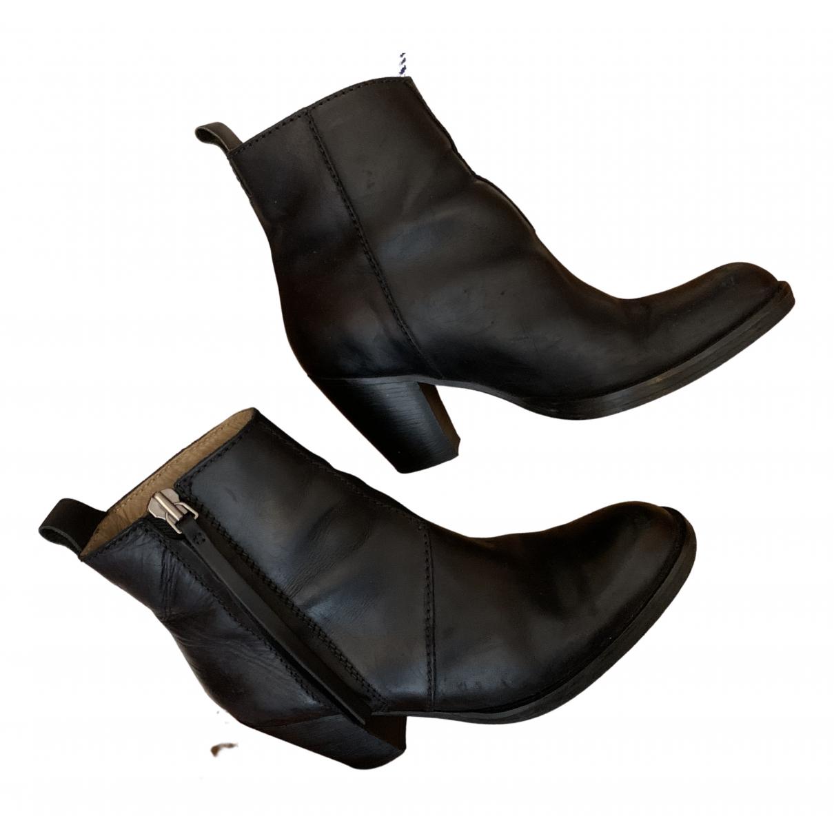 Acne Studios Pistol Black Leather Ankle boots for Women 39 EU
