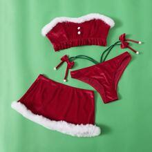 3 piezas bañador bikini bandeau con fruncido de terciopelo con falda