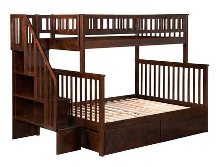 Woodland Collection AB56744 Twin Over Full Size Staircase Bunk Bed with 2 Urban Bed Drawers  Casters  Matching Guard Rails and Eco-Friendly Hardwood