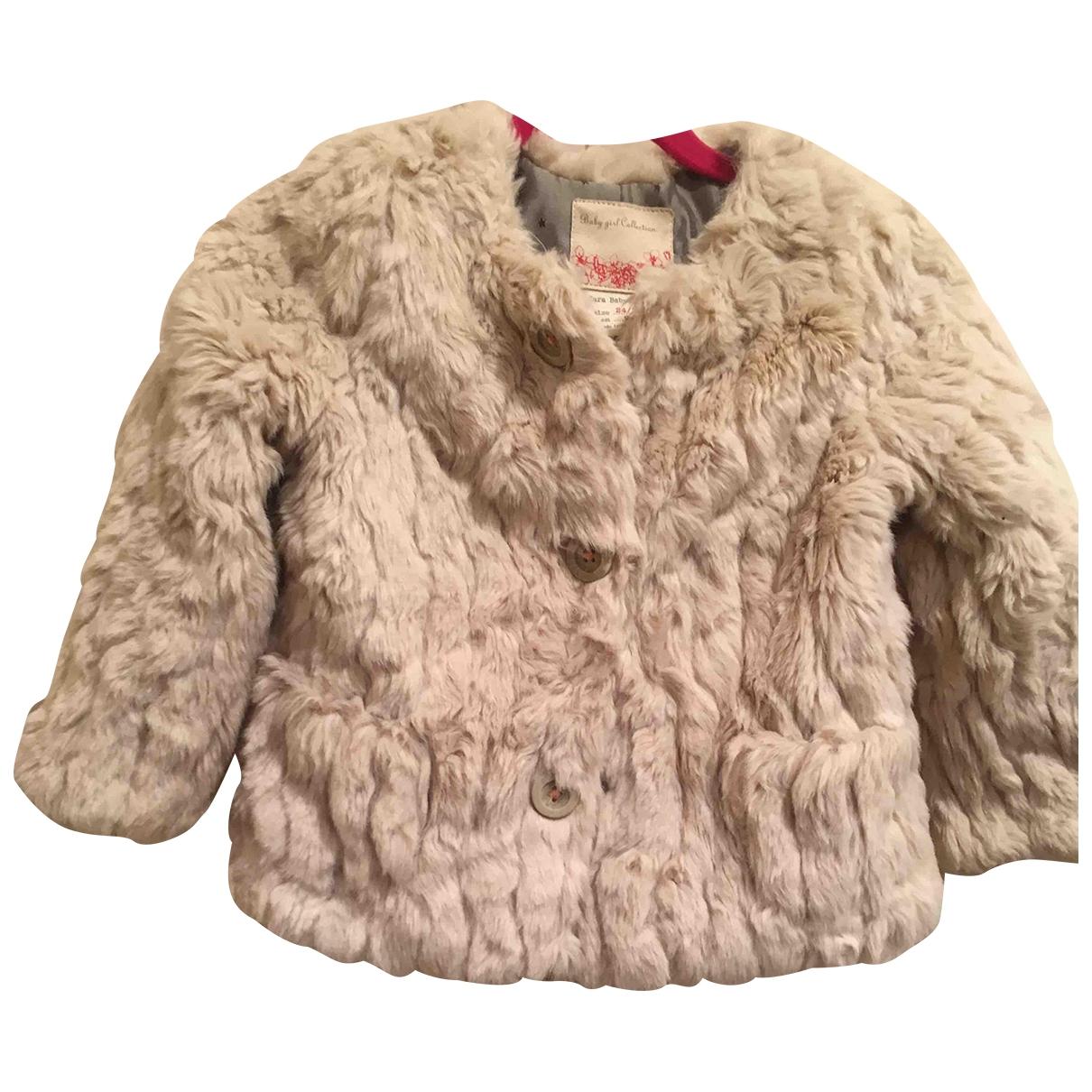 Zara - Blousons.Manteaux   pour enfant en fourrure synthetique - beige