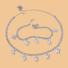 Butterfly Charm Necklace & Anklet