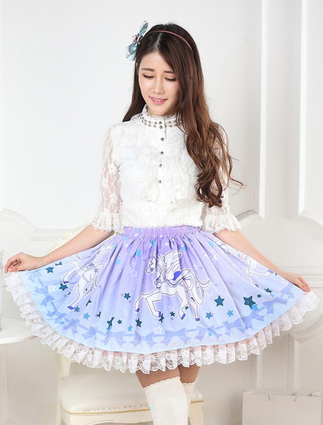 Milanoo Blue Unicorn Print Lace Lolita Skirt