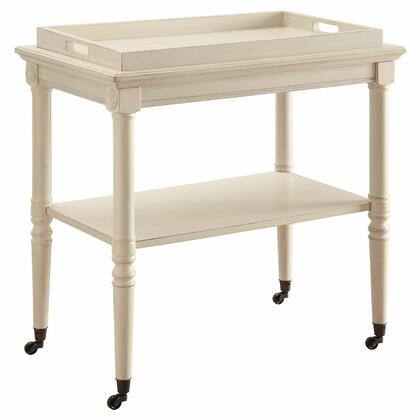 Frisco Collection 82908 30 Tray Table with Metal Casters  French Design  Bottom Shelf  Removable Tray  Turned Legs and Engineered Wood Construction
