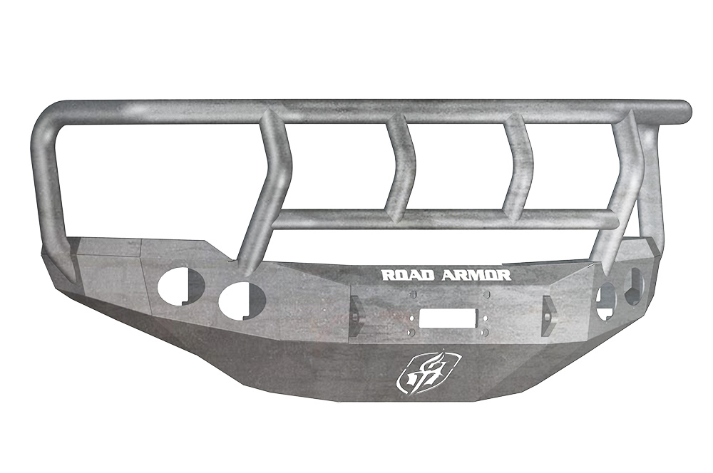 CHEVY Front Winch Bumper Round Light Ports 2500,3500 11-14 RAW Titan II Guard Road Armor 38202Z Stealth Series