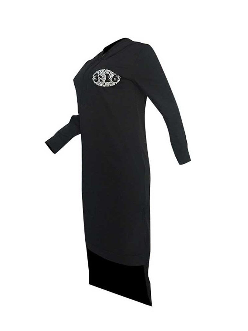 Ericdress Mid-Calf Print Long Sleeve Pullover Hoodie Dress