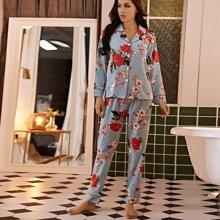 Pajama Set mit Blumen Muster und Kontrast Bindung