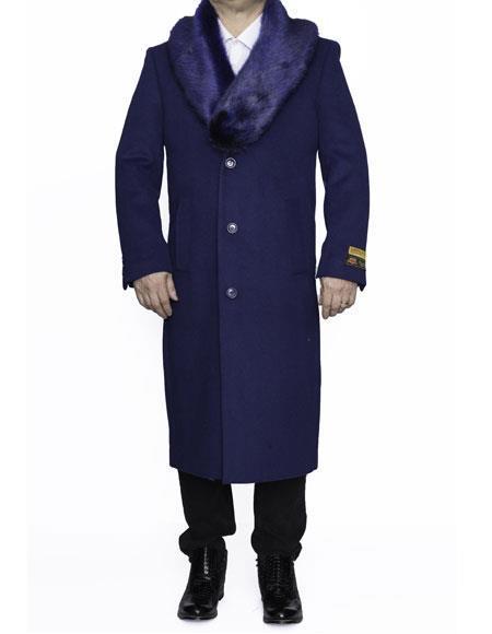 Mens Big And Tall Coat Overcoat Topcoat 4XL 5XL 6XL Indigo Blue