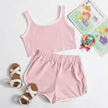 Tank Top mit Kontrast Bindung & Delphin Shorts Set