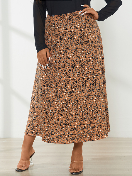 YOINS Plus Size Leopard Maxi Skirts