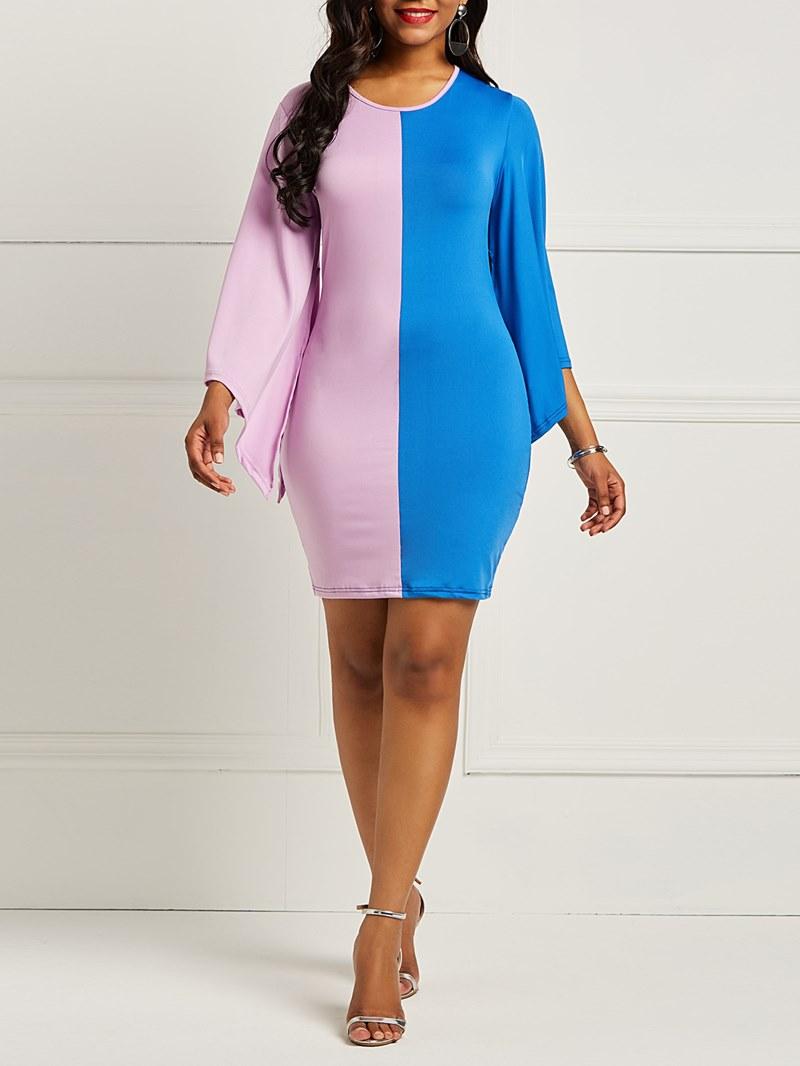 Ericdress Long Sleeves Color Block Women's Dress