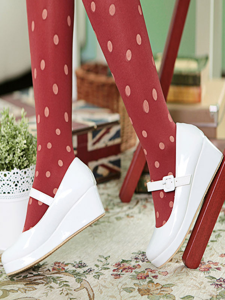 Milanoo Sweet Lolita Shoes Wedge Punta redonda Patente PU Lolita Pumps