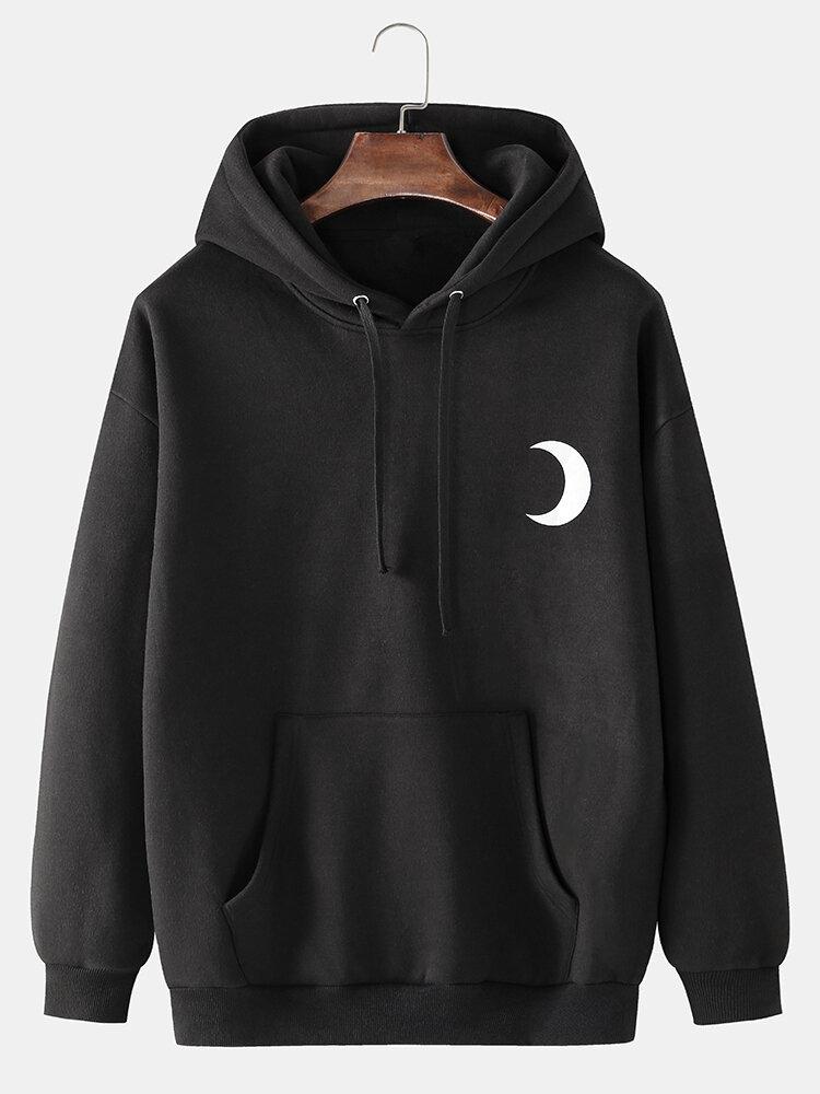 Mens Reflective Moon Graphic Back Print Cotton Fleece Pullover Hoodies