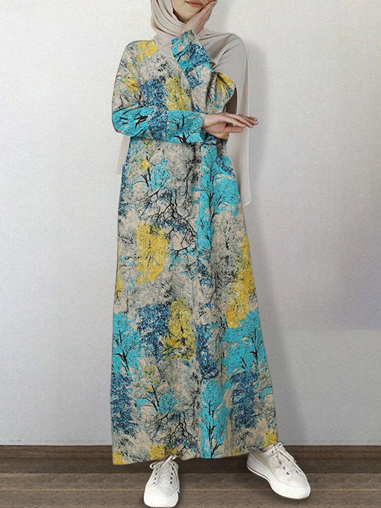 Vintage Maple Forest Print Plus Size Maxi Dress