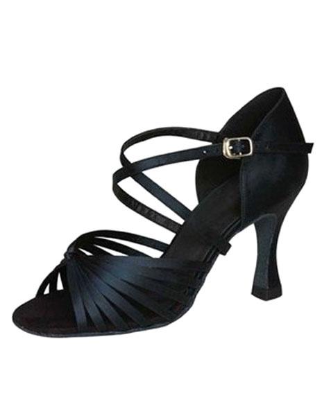 Milanoo Zapatillas de baile latino Zapatos 2020con espacio de baile Criss Cross de punta abierta en negro Zapatos de baile de salsa