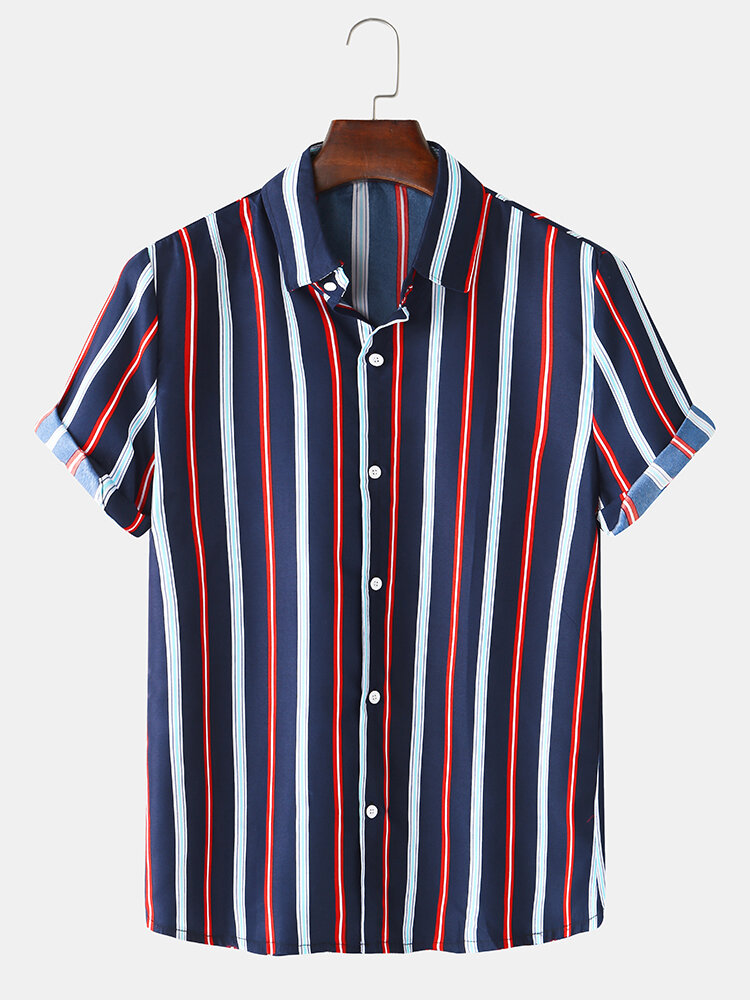 Mens Vertical Stripes Print Turn Down Collar Light Casual Short Sleeve Shirts