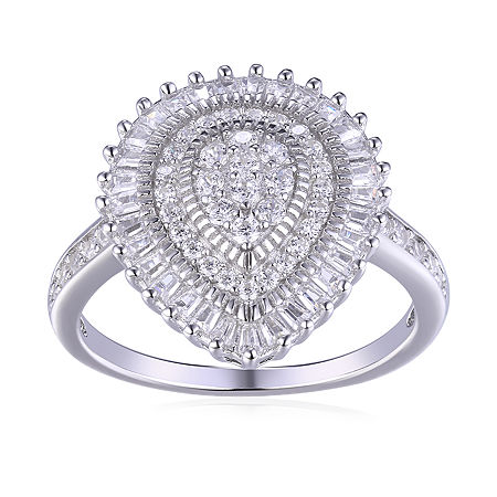 DiamonArt Womens White Cubic Zirconia Sterling Silver Pear Cluster Cocktail Ring, 9 , No Color Family
