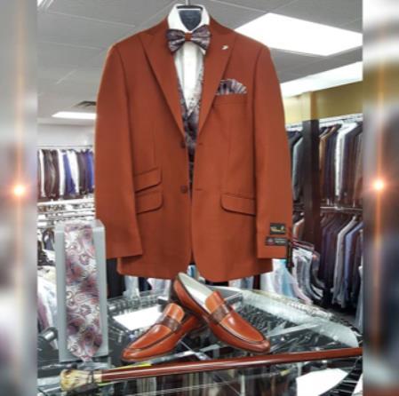 Mens Single Breasted Peak Lapel Dark Brown Suit