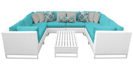 Miami MIAMI-09a-ARUBA 9-Piece Wicker Patio Furniture Set 09a with 4 Corner Chairs  4 Armless Chairs and 1 Coffee Table - Sail White and Aruba