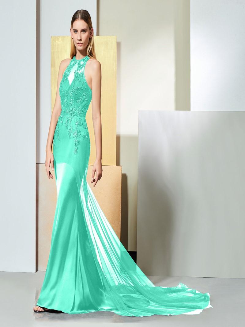 Ericdress Jewel Neck Beaded Black Mermaid Evening Dress