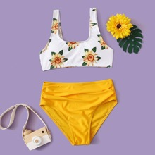 Girls Sunflower Print Ruched Bikini Swimsuit