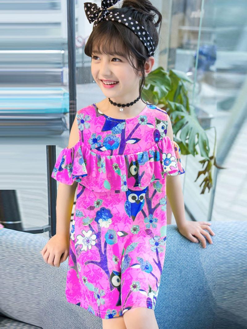 Ericdress Bright Color Off-The-Shoulder Ruffles Dress