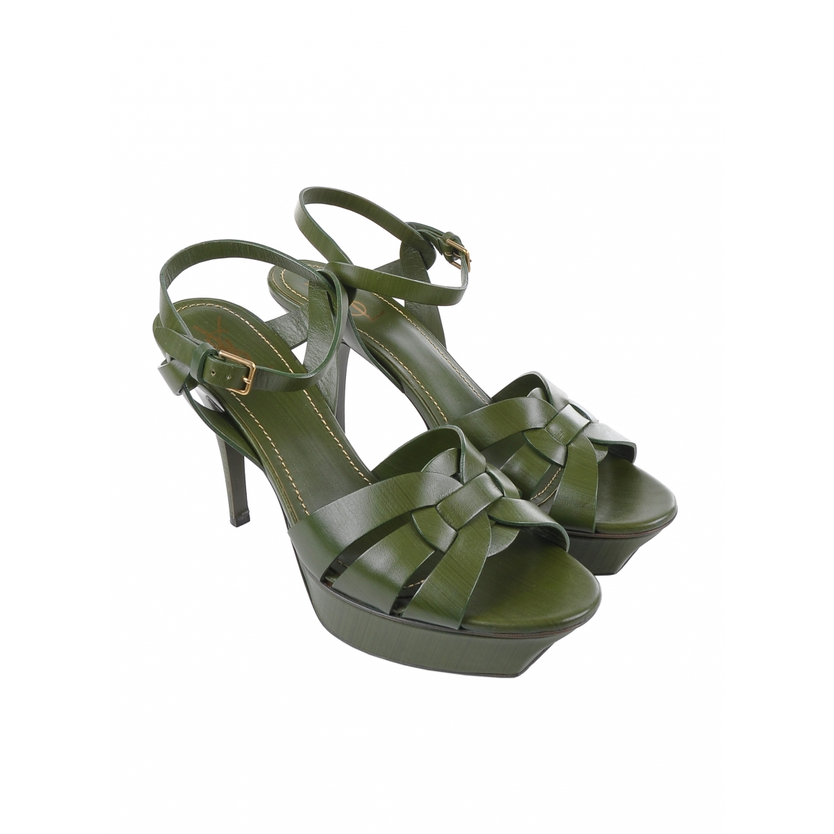 Saint Laurent Tribute Sandalen in  Gruen Leder