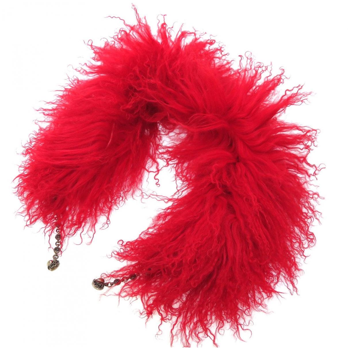 Chrome Hearts - Foulard   pour femme en fourrure - rouge