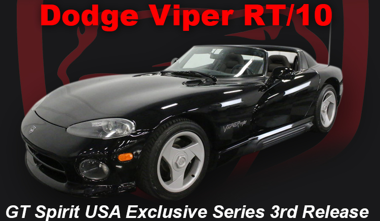 1992-1995 Dodge Viper RT/10 Black USA Exclusive Series Release 3 1/18 Model Car by GT Spirit for ACME
