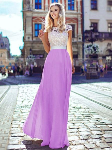 Milanoo Women Maxi Dress White Lace Backless Chiffon Short Sleeves Two Tone Semi Formal Long Wrap Dress