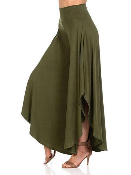 Milanoo Wide Leg Pants High Waisted Irregular Hem Casual Trousers For Women