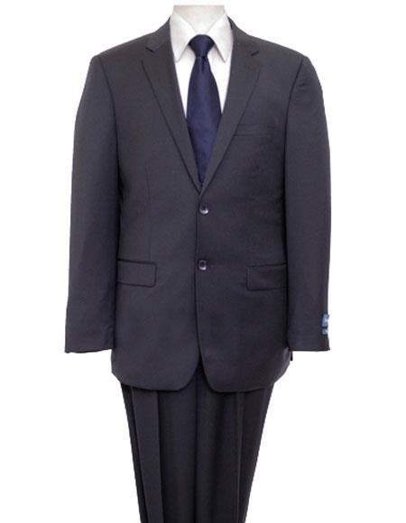 Men's Single Breasted Notch Lapel Solid Navy Suit Flat Front Pant