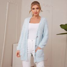 Single Breasted Pocket Front Chunky Knit Fluffy Cardigan