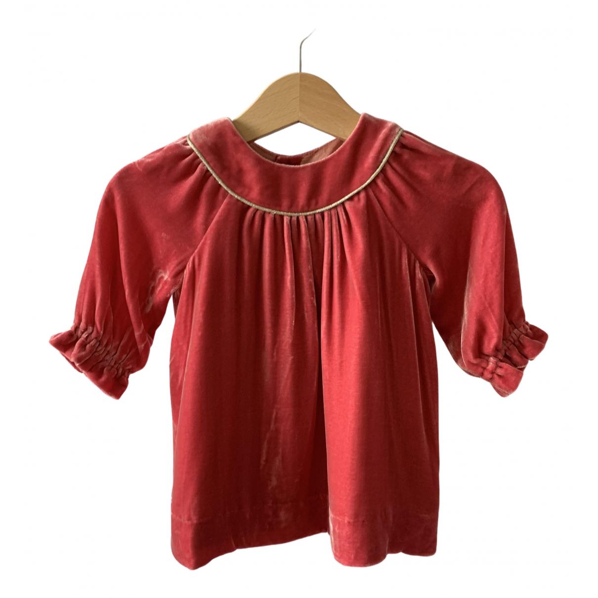 Bonpoint - Robe    pour enfant en velours - rose