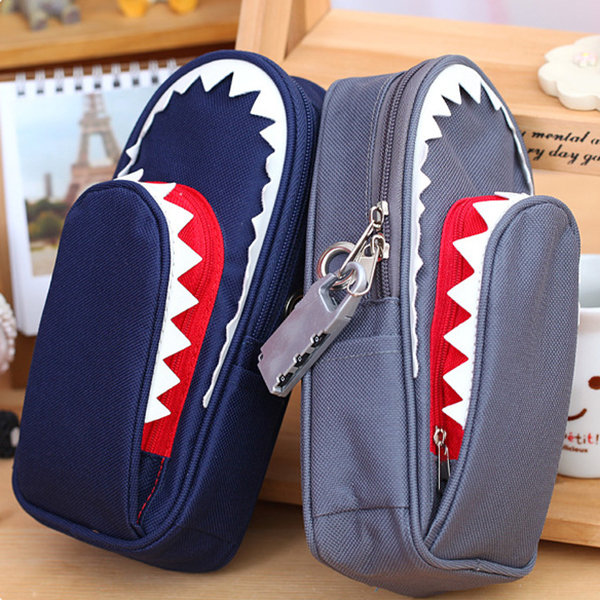 Creative Shark Large Capacity Canvas School Pencil Case With Code Lock Cosmetic Bag
