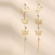 Ohrringe mit Strass und Schmetterling Dekor