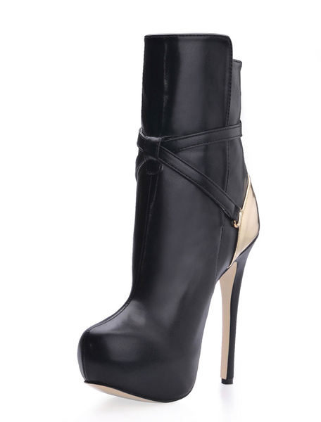 Milanoo Fashion Black Buckle PU Woman's High Heel Booties