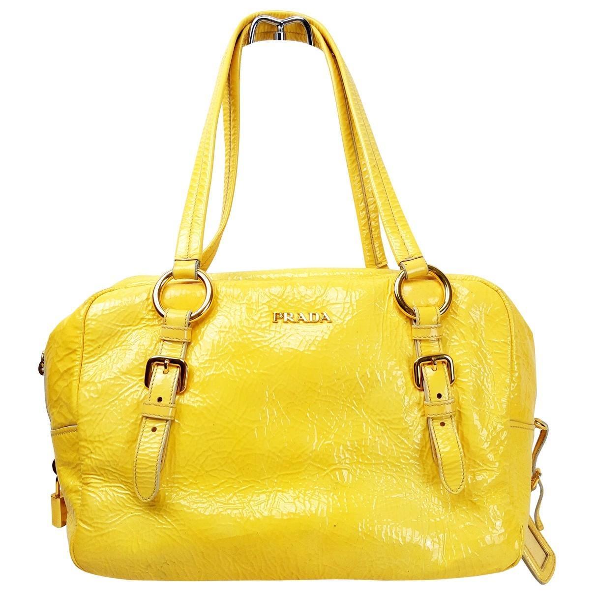 Prada - Sac a main   pour femme en cuir - jaune