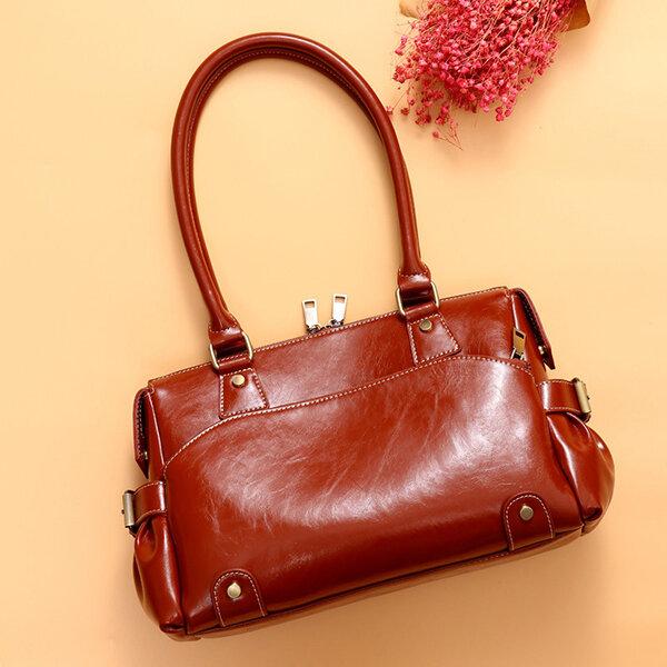 Women Genuine Leather Vintage Designer Handbag Shoulder Bag