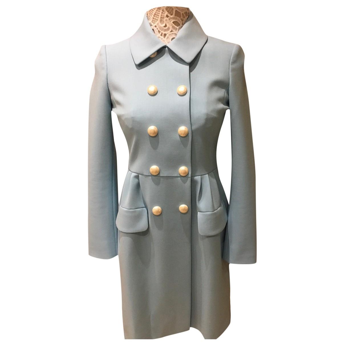 Moschino - Manteau   pour femme en laine - bleu
