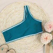 Bikini Top mit Ziernaht und einer Schulter