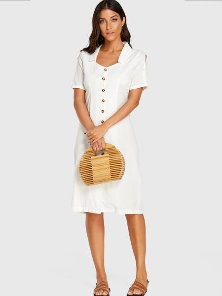 Yoins White Square Neck Front Button Cut Out Dress