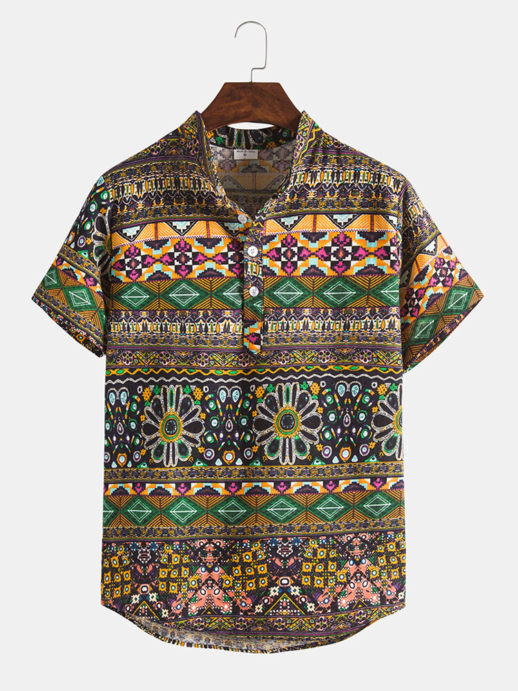 Mens Ethnic Style Print Short Sleeve Breathable Henley Shirts