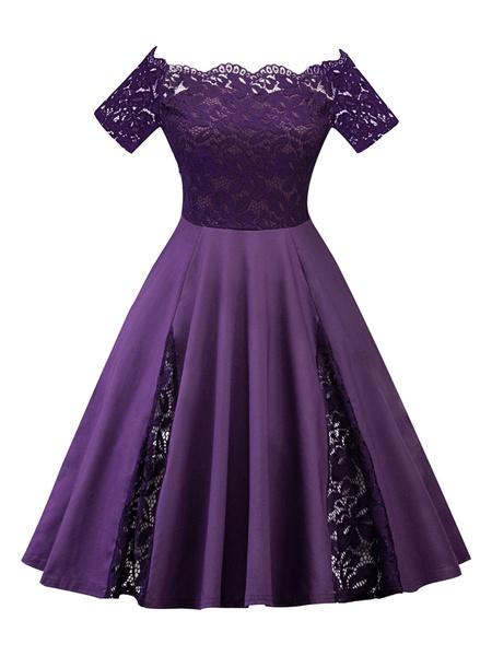 Milanoo Plus Size Vintage Dress Off The Shoulder Short Sleeve Lace Insert Swing Dress