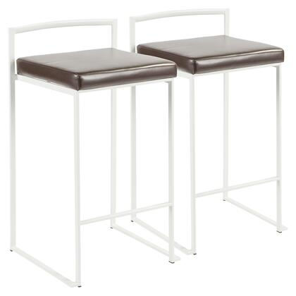 Fuji Collection B26-FUJIW+BN2 Set of 2 Counter Height Stool with Contemporary Style and Faux Leather Upholstery in Brown