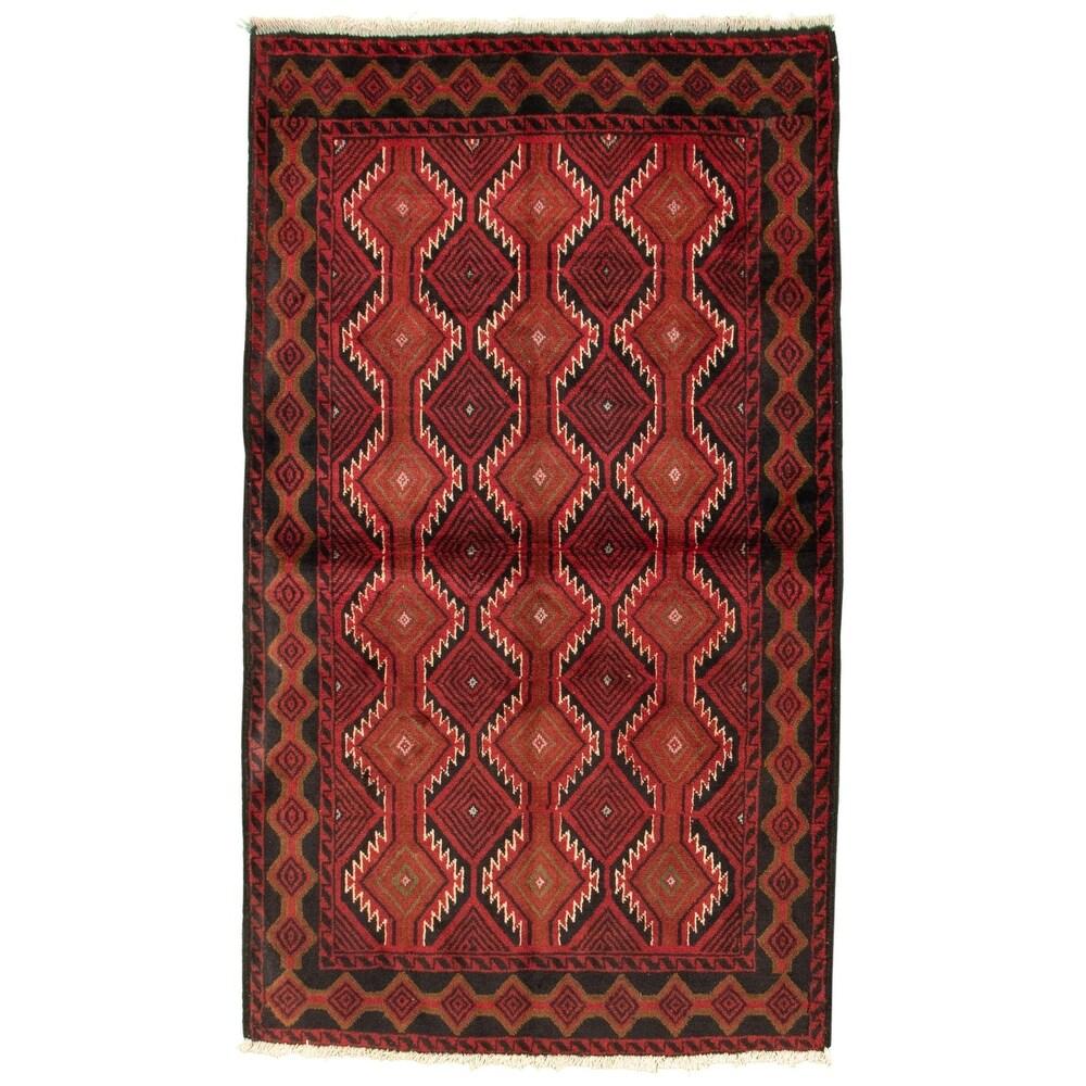 ECARPETGALLERY Hand-knotted Akhjah Dark Red Wool Rug - 3'3 x 5'9 (Dark Red - 3'3 x 5'9)